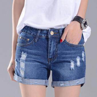 Harga JOY Korea Korean fashion Korean women were thin denim shorts Darkblue - intl