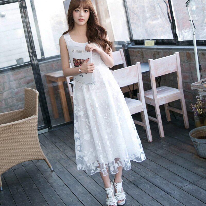 JOY Sleeveless Lace Embroidered Chiffon Dress White - Intl