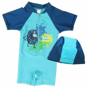 JS 2pcs/set UV Protection Swimsuit Bathing Swimming Suit Swimwear (UPF50+) Swimsuit Beach Surf Clothing for 2-10Y S009 D - intl