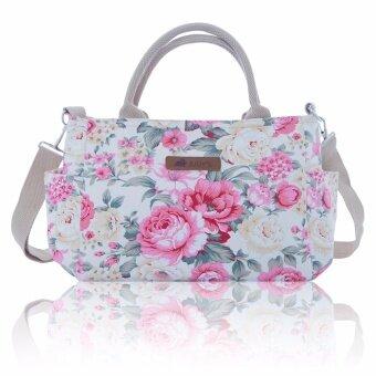 กระเป๋าผ้าแคนวาส รุ่น RITA สายสะพายถอดได้ ลายดอกชมพูพื้นครีม