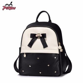 JUST STAR Womens PU Leather Backpack Female Fashion Bow Panelled Double Shoulder Bags Ladies Love Rivets Travel Rucksack - intl