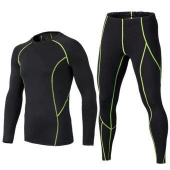 เด็กการบีบอัดกางเกงเสื้อชุดเสื้อ Survetement ฟุตบอลฟุตบอลเยาวชนการฝึกอบรมกางเกงขาสั้น Tights Leggings (สีดำสีเขียว)