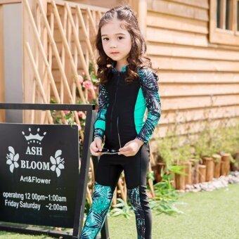 Kids Girl Cute Bamboo Pattern Cute Zipper Long Sleeve Sunscreen Swimsuit (Black) - intl