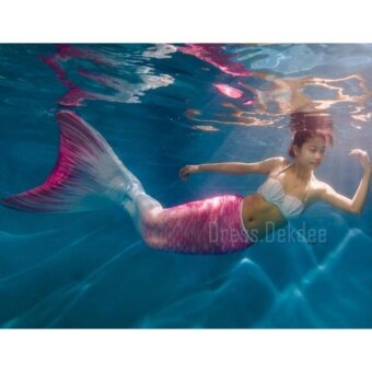 Kids Girls Swimmable Mermaid ชุดนางเงือก ชุดว่ายน้ำเด็กผู้หญิง หางนางเงือก รุ่น Flower + ตีนกบ (สีชมพู)
