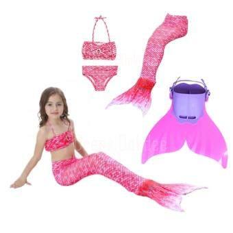 Kids Girls Swimmable Mermaid ชุดนางเงือก ชุดว่ายน้ำเด็กผู้หญิง หางนางเงือก รุ่น Super Dot (สีชมพู) + ตีนกบ (สีชมพู)