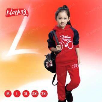 Kloth33 ชุดเสื้อ+กางเกงเด็ก เสื้อหนาวเด็ก เสื้อกันหนาวเด็ก เสื้อผ้าเด็ก เสื้อฮู้ด  เสื้อผ้า เสื้อผ้าแฟชั่น เสื้อกันหนาวมีฮู้ด Kids sweater (Red-Black/สีแดง-ดำ)