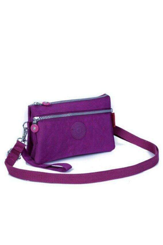Korea กระเป๋าสะพายใบเล็ก3ชั้นผ้ากันน้ำ รุ่น G015-8 (สีม่วง)