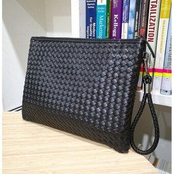 เปรียบเทียบราคา Korea กระเป๋าถือใส่เอกสารA4-ipad หนังลายสาน รุ่นA001-9-8L (สีดำ)