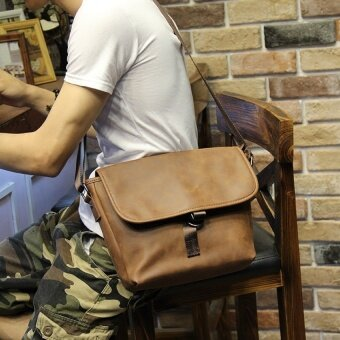 Korean-style man bag Stylish Leather messenger big chest pack outdoor sports bag street mens shoulder cross bag (Deep brown) - intl