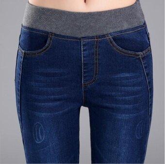 ... Korean Style Women's Clothing Korean Jeans Elastic Highwaist JeansHigh Waist Jeans Long Pants (Blue) ...