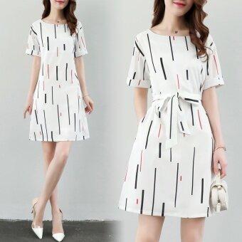 Korean Version of Self-cultivation Slim Printed A Line Dress - intl