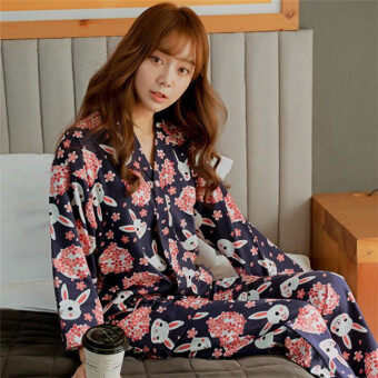 Korean Version Pajamas Lovely Cherry Blossoms Rabbit Lacing Home Clothes Suits