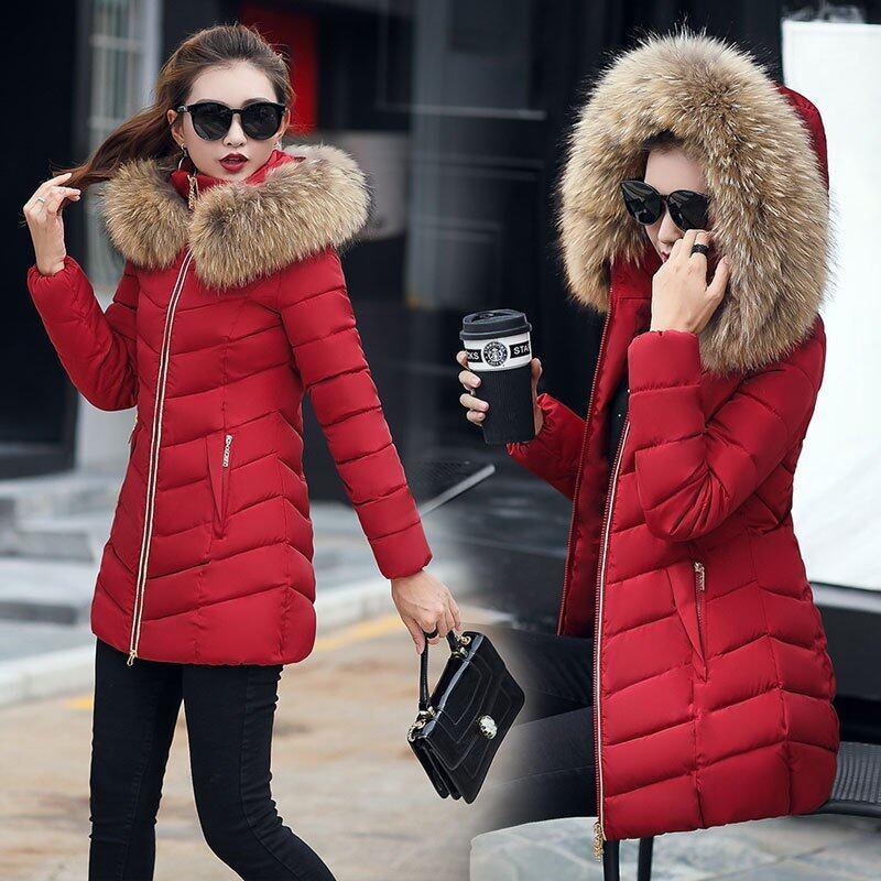 Korean Winter Women's Coat Girls Long Slim Big Fur Coat Jacket Padded Down Girl - intl