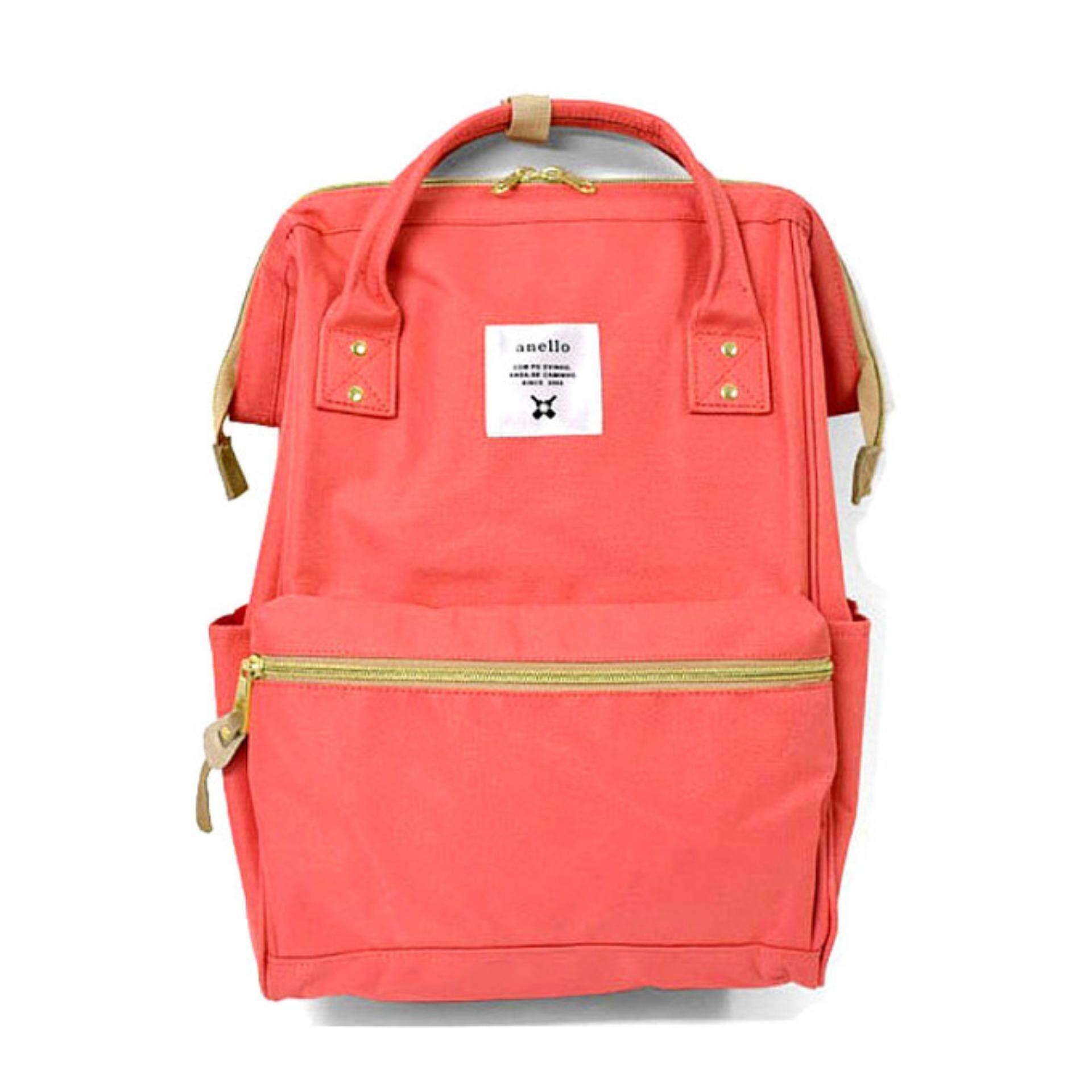 ยี่ห้อนี้ดีไหม  กำแพงเพชร กระเป๋าเป้ Anello Canvas Unisex Backpack Coral Pink (Classic Size) - Japan Imported 100%
