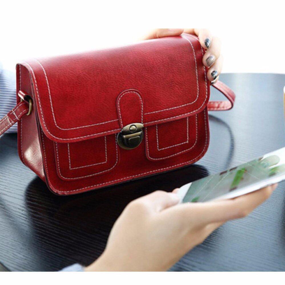 กระเป๋าเป้สะพายหลัง นักเรียน ผู้หญิง วัยรุ่น บึงกาฬ กระเป๋าสะพาย Leather Lady สีแดง