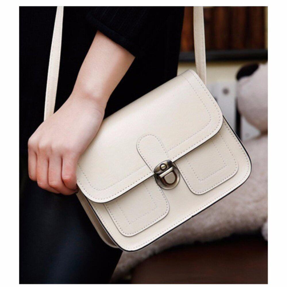 กระเป๋าถือ นักเรียน ผู้หญิง วัยรุ่น ลำพูน กระเป๋าสะพาย Leather Lady สีครีม