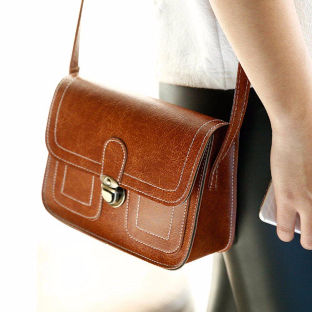 กระเป๋าเป้สะพายหลัง นักเรียน ผู้หญิง วัยรุ่น นครปฐม กระเป๋าสะพาย Leather Lady สีน้ำตาล