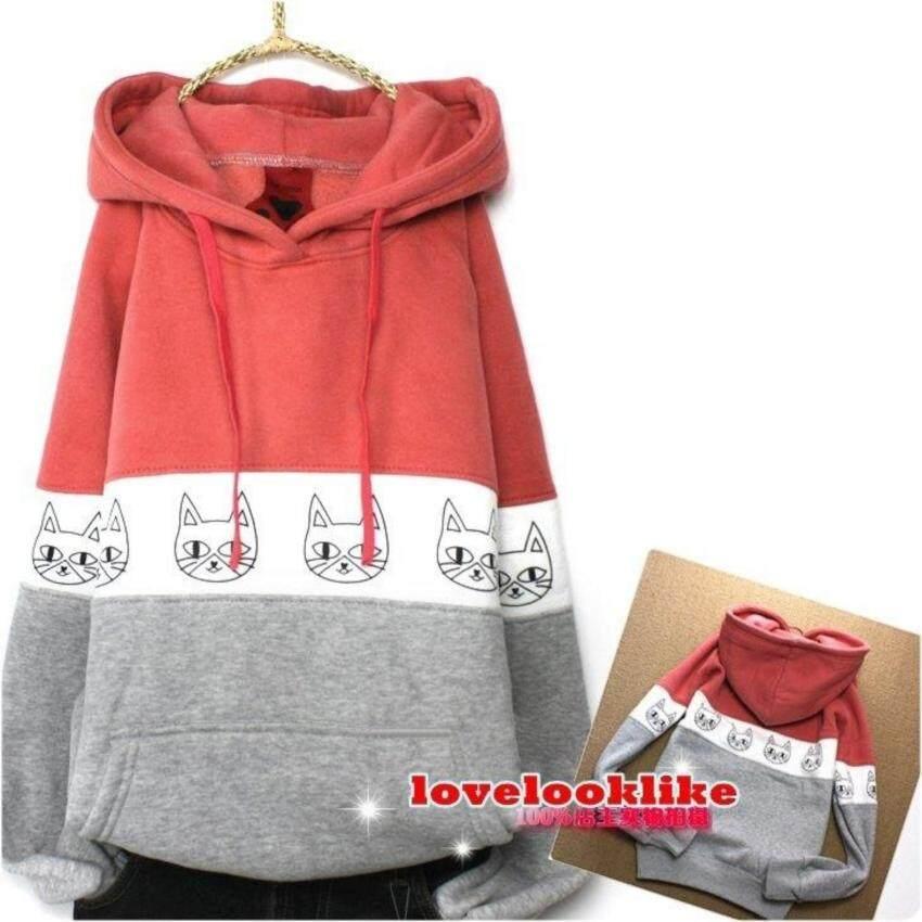 KW5908005 เสื้อกันหนาว มีฮูด อบอุ่นมาก แต่งรูปแมวน่ารักสีชมพูสลับเทา (พร้อมส่ง)