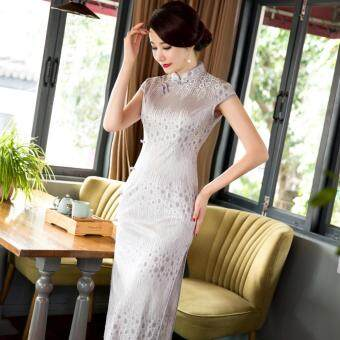Lace Short Sleeve Improved Cheongsam (Silver) - intl