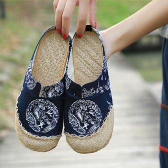 Harga LALANG Ethnic Style Flax Slippers Dragon Design Cloth Shoes (Blue)- intl