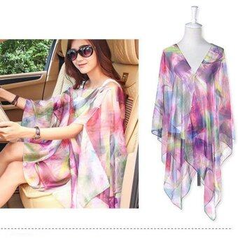 LALANG Pearl Button Chiffon Shawls Scarf Sunscreen Scarf(Multicolor) - intl