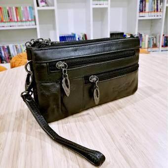รีวิวพันทิป กระเป๋าถือ-สะพายผู้หญิงใบเล็กหนังแท้ใส่เงินใส่บัรตรใส่มือถือรุ่น A500-6(สีดำ)