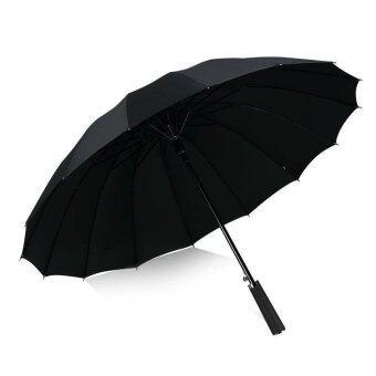 Leather Handle 10 Rib Strong Automatic Umbrellas Wind Resistant Men Black Three Folding Umbrella Rain - intl
