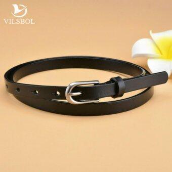 Leather lnc เข็มขัดผู้หญิงหนังแท้ size-M เส้นเล็ก รุ่น W010-2-M (สีดำ)