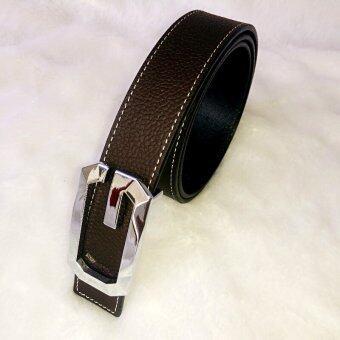 Leather lnc เข็มขัดผู้หญิง หนังแท้ รุ่นW002-สีน้ำตาลเข็ม
