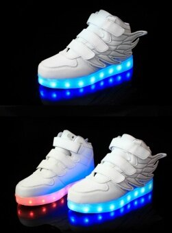 LED lamp children's shoes kid loafers boy sports shoes girl leisure shoes (White) - intl