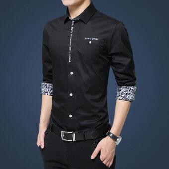 Lejialenanhai เสื้อเชิ้ตแขนยาวบุรุษเข้ารูปสีเดียว (01 สีดำ)
