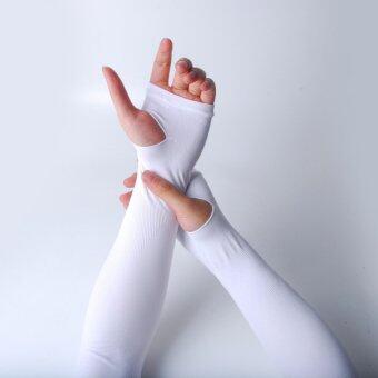 ปลอกแขนกันแดด(เกี่ยวนิ้ว) Let's Slim สีขาว