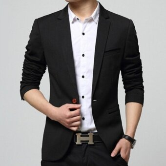 Leyi Men's Korean youth small suit coat of cultivate one's morality Black - intl