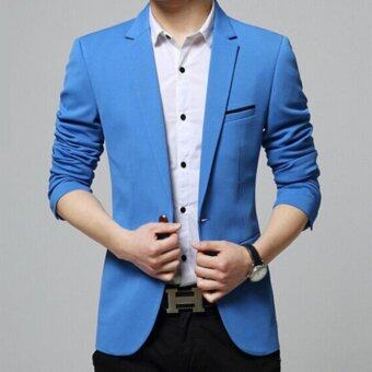 Leyi Men's Korean youth small suit coat of cultivate one's morality Blue - intl