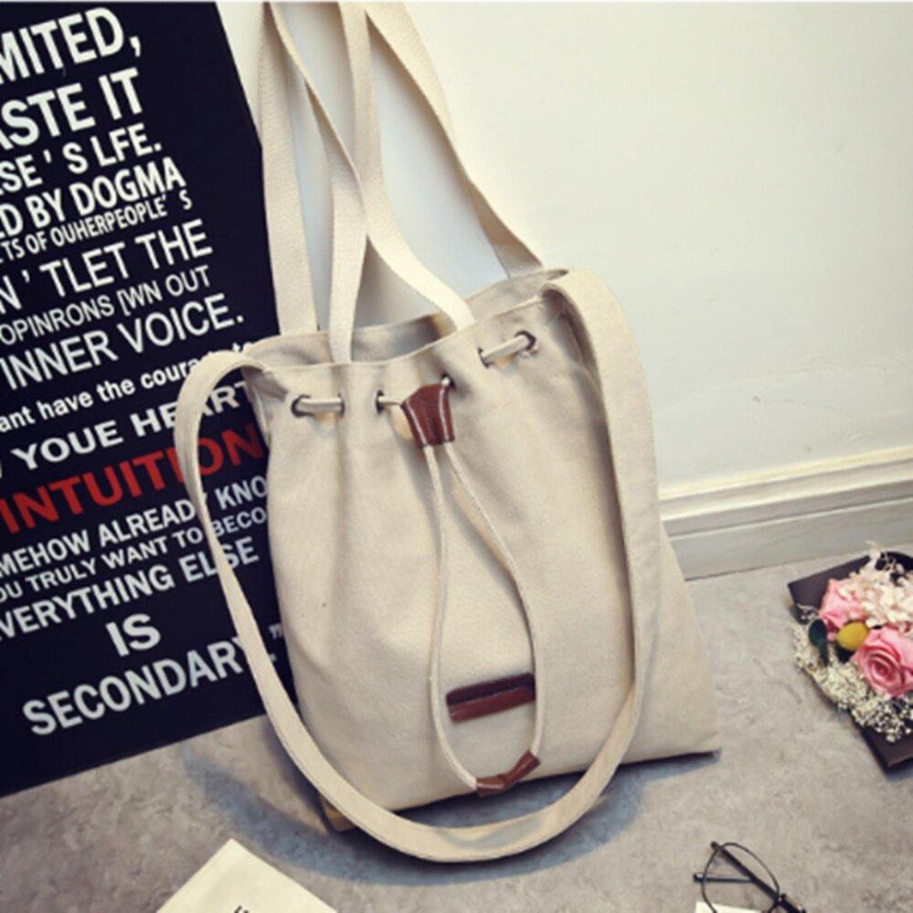 กระเป๋าเป้ นักเรียน ผู้หญิง วัยรุ่น เลย Lions Korea fashion กระเป๋าสะพายไหล่ กระเป๋าผ้าใส่ของ กระเป๋าสะพายข้าง แฟชั่นเกาหลี กระเป๋าถือผู้หญิง กระเป๋าหมอคังจากซีรี่ย์เกาหลีสุดฮิต ใบเล็กกะทัดรัด 112c   White