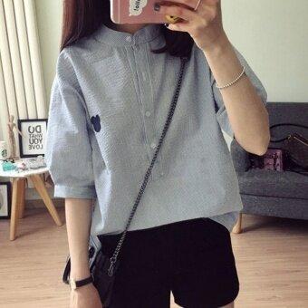 LOOESN เกาหลีหญิงลายเสื้อแขนสั้นเสื้อ (สีฟ้าลาย)