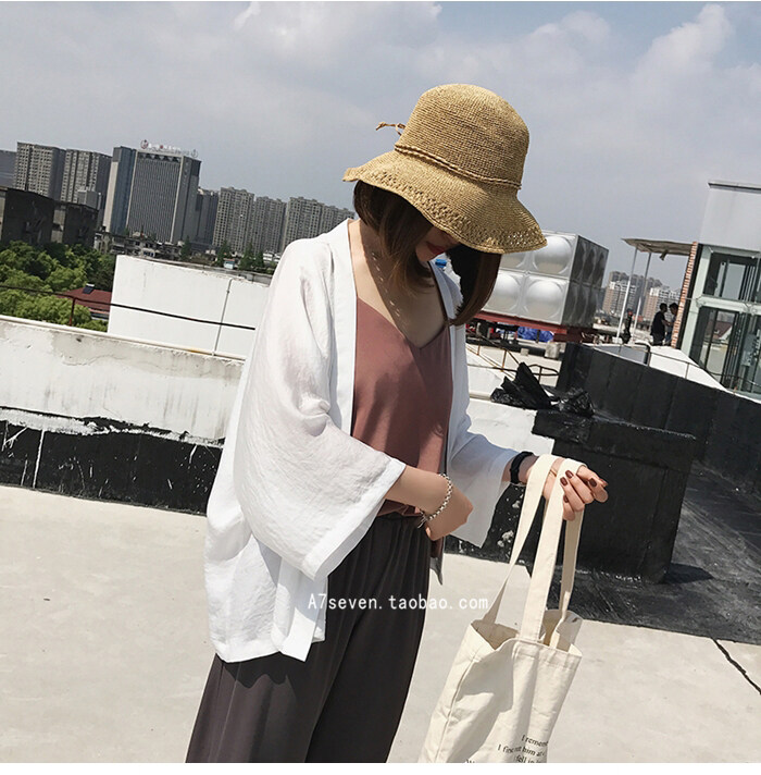 LOOESN เกาหลีป้องกันแสงแดดเสื้อผ้าหญิงฤดูร้อนกิโมโน (สีขาว)