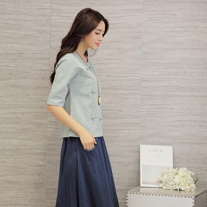 LOOESN ลำลองผ้าฝ้ายวรรคฤดูใบไม้ร่วงใหม่เสื้อยืด (แสงสีฟ้า)