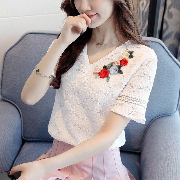 LOOESN ป่าชีฟองสีขาวคอวีลูกไม้เสื้อเสื้อ (สีชมพู)