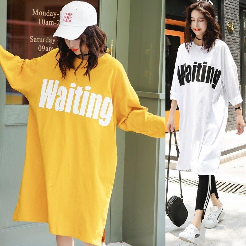 LOOESN เกาหลีฤดูใบไม้ร่วงพิมพ์นักเรียนแขนยาวเสื้อยืดเดรส (ขิงสีเหลือง)
