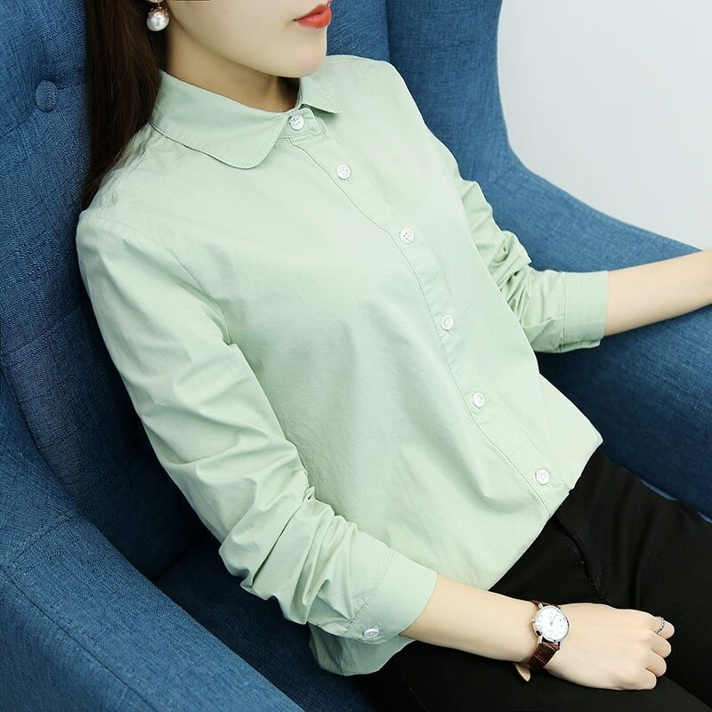 ขาย LOOESN เกาหลีบวกกำมะหยี่หญิงแขนยาวเสื้ออาชีพเสื้อเชิ้ตสีขาว (สีทึบถั่วเขียว)