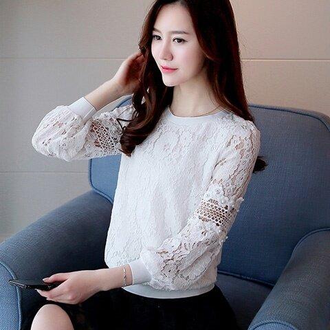 LOOESN เกาหลีเสื้อลูกไม้ใหม่เสื้อเล็กๆฤดูใบไม้ผลิและฤดูใบไม้ร่วง (สีขาว)