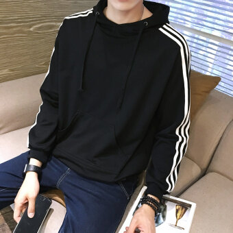 เกาหลีชายนักเรียน LOOESN คลุมด้วยผ้าเสื้อยืดเสื้อยืด (สีดำ)