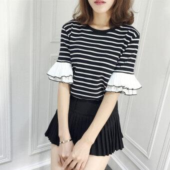 LOOESN เกาหลีลายแขนสั้นผอมเสื้อยืด (สีดำ)