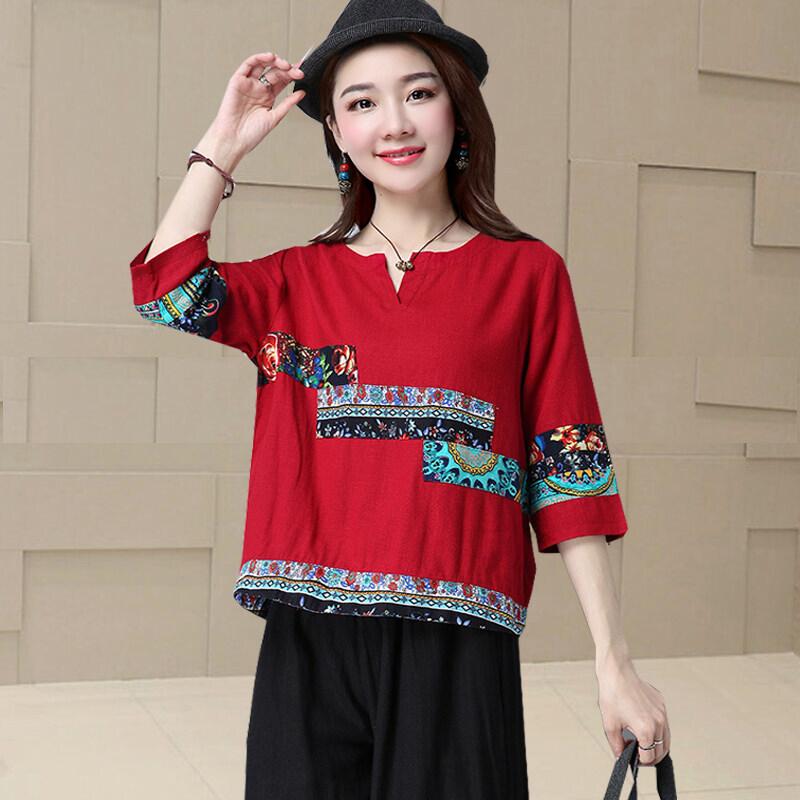LOOESN เย็บผ้าฝ้ายของผู้หญิงแขนสั้นหลาใหญ่ผ้าลินินเสื้อเสื้อยืด (สีแดง)
