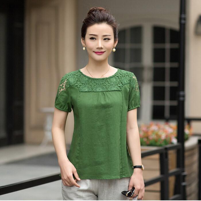 LOOESN ฝ้ายหลาใหญ่แขนสั้นสตรีเสื้อเชิ้ตเสื้อยืดเสื้อ (สีเขียว)