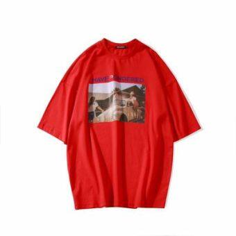 LOOESN เป็นกลางใหม่ในช่วงฤดูร้อนพิมพ์เสื้อยืด (สีแดง)