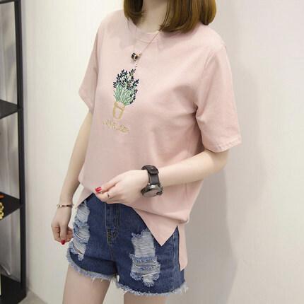 LOOESN เกาหลีปักแขนสั้นเสื้อเสื้อยืด (แจกันปักสีชมพู)