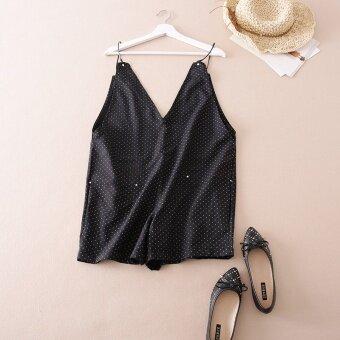 LOOESN c376 ฤดูร้อนนางสาวกางเกงลำลอง (สีดำ)