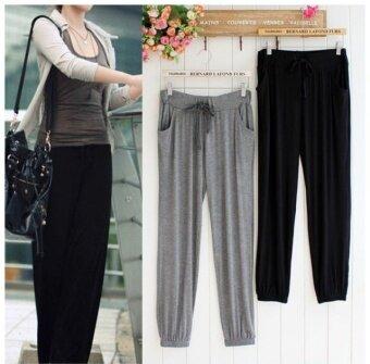 LOOESN ในยุโรปและอเมริกาลม Modaier หญิง drawstring ฮาเร็มกางเกง I กางเกง (สีดำ)